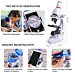 HONPHIER® Kids Microscope 100x 400x 1200x Microscope for Childre Microscopes Set Microscope Kit Kids Toys Science with Adjustable Phone Holder