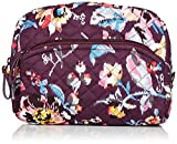 Vera Bradley Women's Signature Cotton Medium Cosmetic Makeup Bag, Indiana Rose, One Size