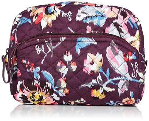 Vera Bradley Women's Signature Cotton Medium Cosmetic Makeup Bag, Indiana Rose, One Size