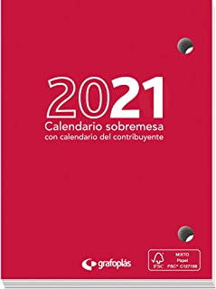 Grafoplás 9117800. Taco Calendario de Sobremesa 2021, 8'3x11cm, Papel 70 Gramos, Certificado FSC, Vista Día Página, Con Ca...