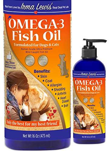 Ultra Premium Wild Caught Omega 3 Fish Oil for Dogs, Cats, Rabbits – Best For Full Glossy Coat, Ear Infections, Allergies, Dry Itchy Skin, Shedding. Essential Fatty Acids DHA & EPA, 16oz Pump