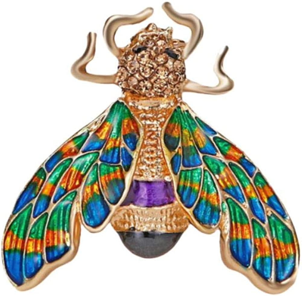 Leono Freedi Crystal Bee Brooch Insect Rhinestone Pin Brooches Clip Gift for Female