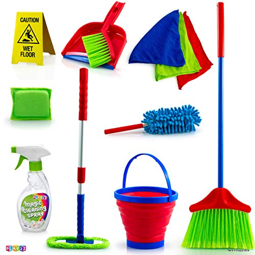 Play22 Kids Cleaning Set 12 Piece - Toy Cleaning Set Includes Broom, Mop, Brush, Dust Pan, Duster, Sponge, Clothes, Spray, Bucket, Caution Sign, - Toy Kitchen Toddler Cleaning Set - Original