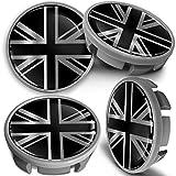 SkinoEu 4 x 65mm Tapas de Rueda de Centro Centrales Llantas Aluminio Compatibles con Tapacubos VW Número de Pieza 3B7601171 / 6U7601171 Gris Plata Bandera del Reino Unido UK CVS 1