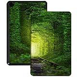 QIYI Slimshell Funda para tablet Amazon Fire 7 (9.ª generación, lanzamiento 2019) para niños, funda protectora ajustable, soporte inteligente para tablet Kindle de 7 pulgadas, túnel de árboles
