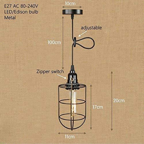 TL-LAMPS Iron Cage Industrielampen-Aufhängung, Rückstellung des schwarzen Kabels und 27 Home Stay Bar-Rücklichtschalter, D0357