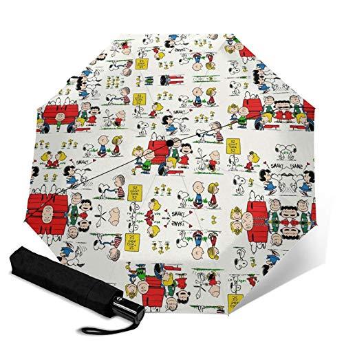 PLUAN S-noopy Reise Faltschirm 10 Rippen Regenschirme Leicht Stabil Automatik Regenschirm für Damen Herren, Schwarz (Schwarz) - Umbrella-206008088-1
