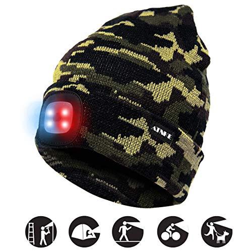 ATNKE Bright LED Verlichte Beanie Cap Unisex Oplaadbare koplamp Hoed Rode en blauwe gloed Knipperende alarmkoplamp Veelkleurig