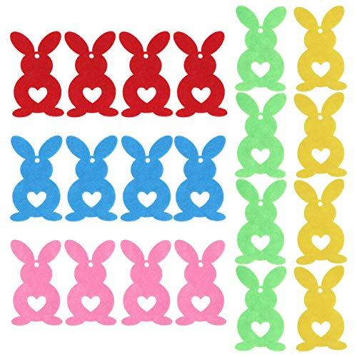 VALICLUD 20 Pcs Wool Felt Rabbit Easter Bunny Craft Ornaments Garland DIY Animal Pendants for Baby Shower Nursery Decorations Wall Hanging 8cm