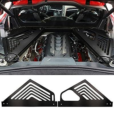 BILLFARO Pair Black Engine Covers Protector Grill Aluminium Oxidation Engine Bay Panel Cover Left Right Auto Interior Body Part Replacement Accessories for Corvette C8 2020-2022