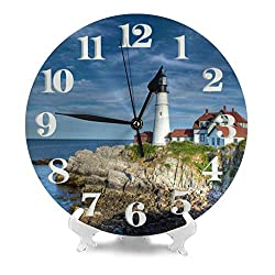 MySty Cute Portland Healight Lighthouse Wall Clock, Silent Non-Ticking Quality Quartz Battery Operated Wall Clock - 10 Inch Round Easy to Read Decorative for Home Office School