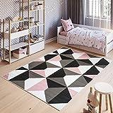 Tapiso Pinky Alfombra Juvenil Niños Diseño Moderno Rosa Gris Blanco Negro Geométrico Trapecios Mosaico Suave 120 x 170 cm