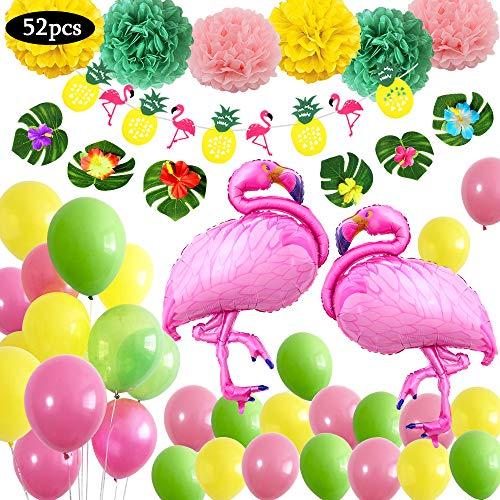 Decoración de fiesta en la playa hawaiana,Suministros fiesta de verano tropical con 6 hojas,6 flores,2 globos grandes flamenco 30 Globos 1 bandera colorida 6 flores de papel 51 Piezas