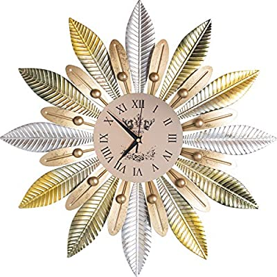"""Ghytdf Large Decorative Wall Clock, 23"""" inch d Oversized Retro Metal Leaf Roman Numeral Country Style Home Decor Ideal for Living Room Wall Clock(style1)"""
