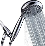 """G-Promise Handheld Shower Head High Pressure 6 Spray Settings, Detachable Hand Held Showerhead 4.9"""" Face with Extra Long Flexible Hose and Metal Adjustable Bracket (Chrome)"""
