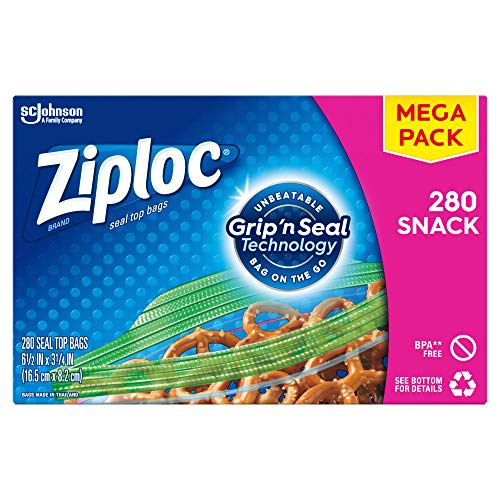 Ziploc Snack Bags, Easy Open Tabs, Ideal for Packing Cookies, Fruits, Vegetables, Chips and More, 280 Count