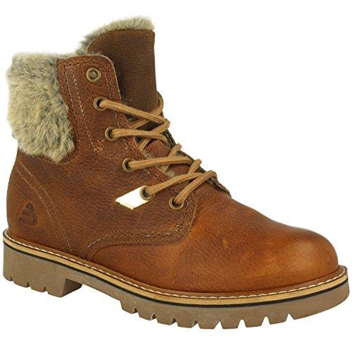 BULLBOXER Damskie buty sznurowane 784M86515, damskie kozaki, buty Chukka, półkozaki, sznurowane, botki, płaskie, brązowy - brązowy - 37 eu