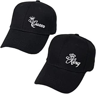 MIUNIKO Couples Lovers Fashion King and Queen Embroidered Adjustable Baseball Snapback Caps Hip-Hop Hat, 2-Piece Set