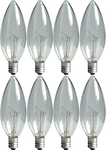 GE Crystal Clear Blunt Tip Decorative Light Bulbs (60 Watt), 540 Lumen, Candelabra Light Bulb Base, 8-Pack Chandelier Light Bulbs