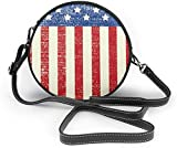 BAODANLA Bolso redondo mujer Women Soft Leather Zipper Round Shoulder Bags - American Grunge Flag Sling Bag