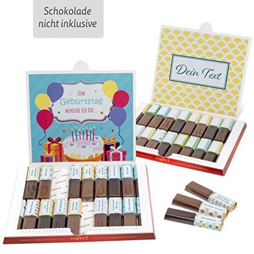Netti Li Jae ® Aufkleber Set für Merci Schokolade für 2 persönliche Geschenke: Das persönliche Dankeschön und kreative Geschenkidee (Happy Birthday)