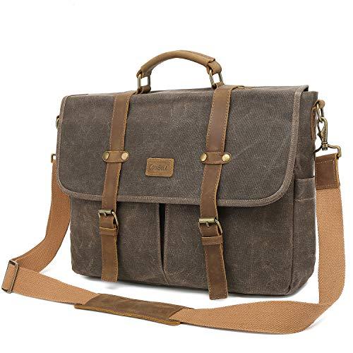 Srotek Messenger Bag 15.6 Inch Waxed Canvas Briefcase Water-Resistant Laptop Bag Business Satchel Shoulder Bag for Men-Brown