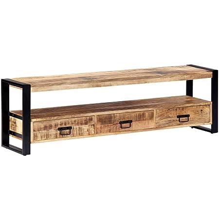 Vidaxl Mangoholz Massiv Tv Schrank Mit 3 Schubladen 1 Fach Tv Möbel Tisch Board Kommode Lowboard Fernsehschrank Fernsehtisch 150x30x45cm Stahl Küche Haushalt