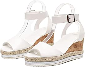 BHHT Women Platform Wedge Sandals Espadrille Sandals Wedge Heel Summer Shoes Slingback Non-Slip Casual Outdoor Walking (Color : White, Size : 38)