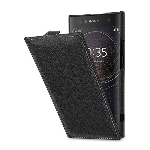 StilGut UltraSlim, Leder-Hülle kompatibel mit Sony Xperia XA2 Ultra, Schwarz