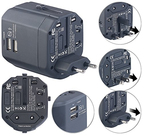 reVolt Adapter Stecker: 3in1-Universal-Welt-Reisestecker mit 2 USB-Ladeports, 2,5 A, 12,5 Watt (Weltreisestecker)