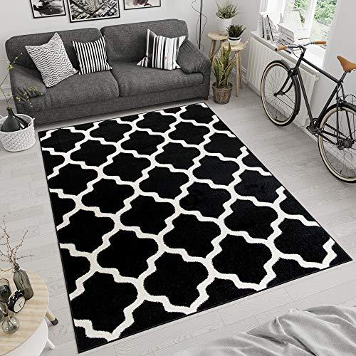 Tapiso Maroko Alfombra de Salón Sala Comedor Diseño Moderno Negro Blanco Marroquí Geométrico Tréboles Fina 80 x 150 cm