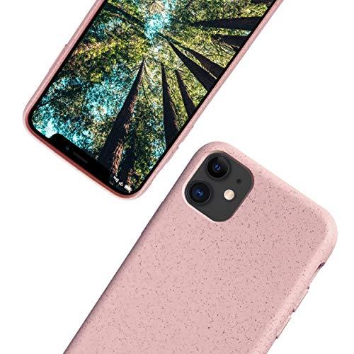 eplanita Bio Hülle iPhone 11 Hülle, Biologisch abbaubar & Kompostierbar Pflanzenfaser & weiche TPU, Drop-Schutz-Abdeckung, Umweltfre&lich Null Müll (Rosa, iPhone 11)