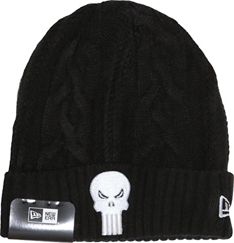 New Era Hero Cuff Black Cable Knit Beanie (The Punisher)