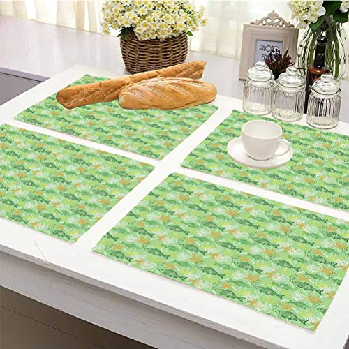 3D Print DIY Decorative Placemats Table Mats, Fishes Hand Drawn Basses Starfishes and Auger Seashell on Green Background Underwater Theme, Placemats Washable Easy to Clean Set Of 6, Multicolor