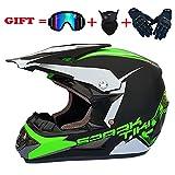 SSIC-Full Face Casque de VTT avec lunettes de protection, masque de moto, DH Offroad Enduro ATV BMX VTT Downhill Dirt Bikes Quad Moto Cross Country