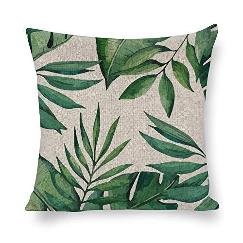 Federa quadrata in cotone e lino, per cuscini, decorazione per la casa, per divano, letto, sedia, motivo con foglie verdi tropicali e palme.