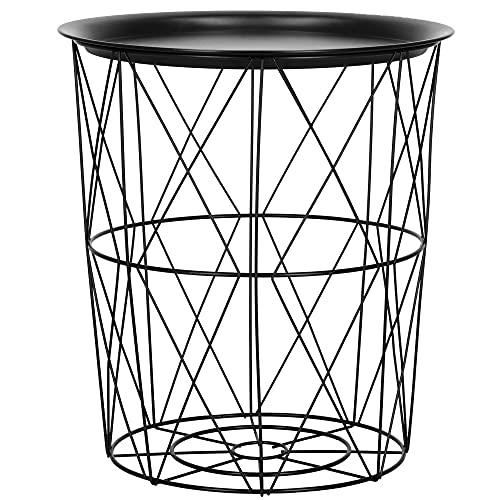 SPRINGOS Deko-Beistelltisch Drahttisch Metall-Tischplatte matt Durchmesser 30 cm Höhe: 35 cm durchbrochen Metalltisch industriell (35x30 cm, Schwarz-Schwarz)