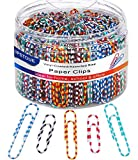 Paper Clips, Medium & Large (1.1' & 2') Paper Clip Assored Size, Durable and Rustproof, 450 PCS Vinyl Coated Paperclips Colorful for Office School Document Organizing (Striped)