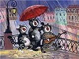 Set de dibujo de pintura digital DIY Animal de dibujos animados Música Gato Niños Adultos Pintura para principiantes Decoración de la pared del hogar Regalo Cumpleaños Navidad - 40 * 50Cm (Sin marco)