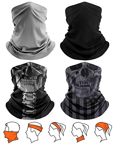 [4 Pack] Unisex Sun UV Protection Cooling Face Scarf Cover Mask Neck Gaiter, Headband Fishing Mask, Reusable Breathable Bandana Balaclava, Motorcycle Face Cover for Men Women (2 Solid+2 Skull-10)