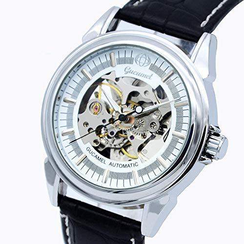 Reloj mecánico mecánico de Esqueleto de Acero Inoxidable, Hombres-C