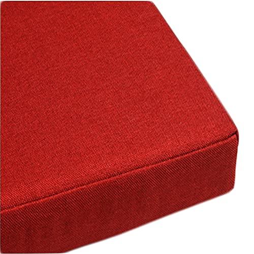Cojín de repuesto para muebles de interior y exterior, de lino, de madera, para sofá, ventana, jardín, cocina, comedor, mesa (rojo, 40 x 90 x 5)