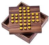 Solitär Gr. L - Solitaire - Steckspiel - Denkspiel - Knobelspiel - Geduldspiel aus Holz - gelbe Stecker