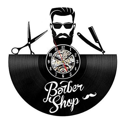 wtnhz LED-Peluquería Reloj de Pared Moderno barbería decoración Vinilo Reloj de Pared Colgante peluquería Reloj de Pared peluquería salón