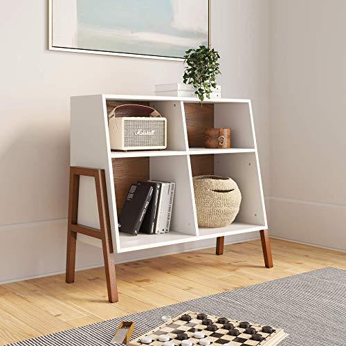 Nathan James Telos 4 Würfel Organizer Aufbewahrung offenes Cubby Regal mit abgewinkeltem Design, Holz, braun/weiß