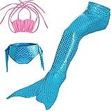 Dwawoo 3Pcs Swimwear Coda di Sirena, Bambini Mermaid Beach Costume da Bagno Costume da Bagno in Costume da Bagno Costume da Bagno in Maschera per Le Ragazze(110)