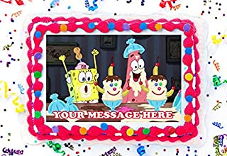 Spongebob Squarepants Cake Topper Edible Image Personalized Cupcakes Frosting Sugar Sheet (8