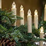 Set of 10 Flameless Electric LED Candles – Clip-On Christmas Tree Lights – Battery Operated, Remote Controlled, Dimmable, Flickering and Steady Light (3.5' Tall)