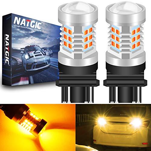 NATGIC 3157 3157CK 4157 3156 Ampoules à Del Orange 21- EX 2835 SMD avec projecteur à lentille pour Feux de Marche arrière à Clignotants de Frein, 10-16V 10,5W (Paquet de 2)