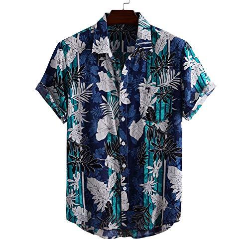 Camisas de Manga Corta para Hombre, impresión Personalizada, Ocio Diario, Muesca, Solapa, Ropa de Calle, Camisas con Bolsillo de Empalme en la Playa L